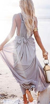 Seaside Goddess Grey Sleeveless Plunge V Neck Tie Back Maxi Dress - Sold Out