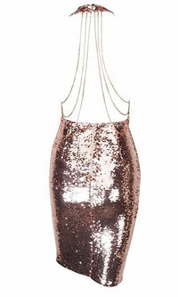 Glitzy Girl Sequin Sleeveless Plunge V Neck Backless Halter Bodycon Mini Dress - Sold Out