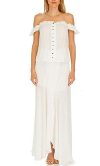 Bora Bora High Slit White Polka Dot Striped White Zip Back Maxi Skirt - Sold Out