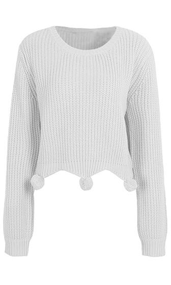 Rah Rah Long Sleeve Scoop Neck Pom Pom Pullover Sweater - 3 Colors Available