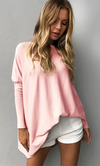Good Intentions Long Puff Sleeve Wide Boat Neck Oversized Basic Tunic Top Sweater - 3 Colors Available