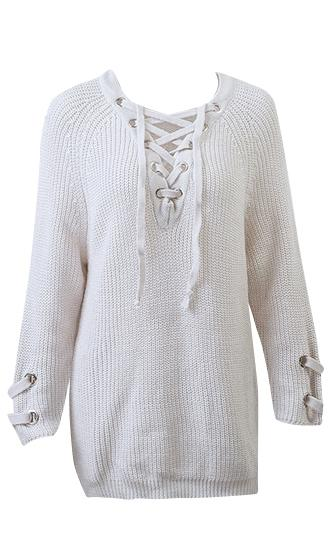 Kickin' It Long Sleeve V Neck Grommet Lace Up Tunic Pullover Sweater - 5 Colors Available