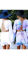 Moonstone Light Purple Lavender Blue Tie Dye Long Bell Sleeve Scoop Neck Lace Up Crop Top Ruffle Trim Mini Skirt Two Piece Dress - Sold out