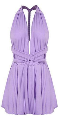 Perfect In Plum Purple Sleeveless Plunge V Neck Pleated Convertible Tie Back Halter Short Romper - Sold Out