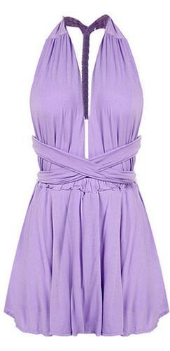 Perfect In Plum Purple Sleeveless Plunge V Neck Pleated Convertible Tie  Back Halter Short Romper -