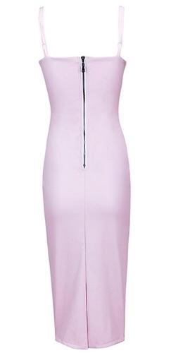 Nikita Light Lilac Purple Sleeveless Spaghetti Strap V Neck Faux Leather Bodycon Midi Dress - Inspired by Kim Kardashian