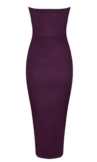 Make You Love Me Purple Faux Suede Strapless V Neck Bodycon Midi Dress - Sold Out