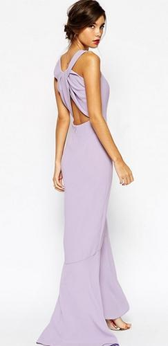 Dare To Dream Purple Lavender Sleeveless Square Neck Cut Out Cross Back Fishtail Mermaid Maxi Dress Gown - Sold Out