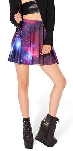 Purple Blue Red White Burgundy Wine Celestial Galaxy Skater Circle A Line Flare Mini Skirt - Sold Out