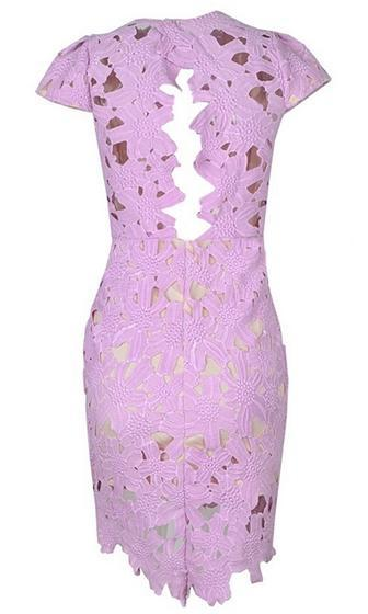 Fool For Love Light Purple Lavender Lace Cap Sleeve V Neck Cut Out Back Bodycon Mini Dress - Sold Out