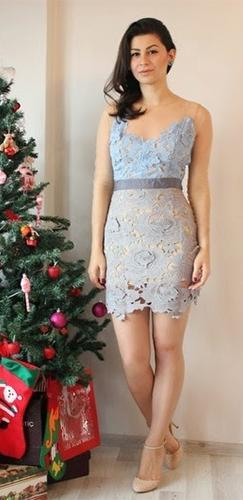 French Affair Purple Lavender Beige Grey Lace Sheer Mesh 3/4 Sleeve Scoop Neck Scallop Bodycon Mini Dress - Sold Out