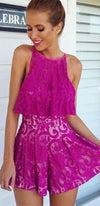 Plum Perfect Purple Lace Sleeveless Scoop Neck Tier Short Romper - Sold Out
