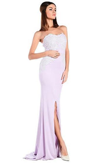 In My Realm Light Purple Lavender Strapless Sweetheart Lace Trim Front Slit Maxi Dress -  Sold Out