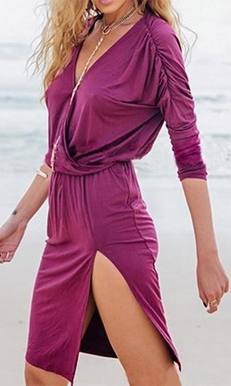 Flip The Switch Purple Long Sleeve Cross Wrap V Neck Ruched Slit Mini Dress - Sold Out
