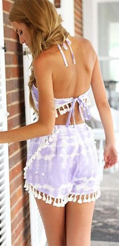 Light Purple Lavender White Tie Dye Sleeveless Crop Tassel Halter Top Shorts Two Piece Romper - Sold Out