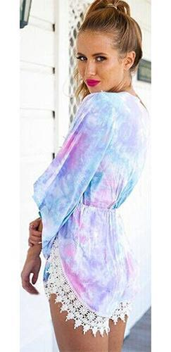 Octavia Purple Blue Pink White Tie Dye Lace Trim 3/4 Sleeve V Neck Short Romper - Sold out