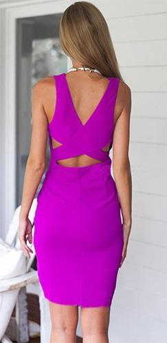 Purple Rain Sleeveless Cross Wrap V Neck Wrap Asymmetric Mini Midi Dress - Sold Out