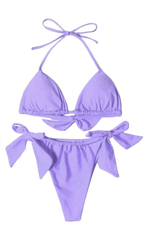 Harbor Lights Purple Spaghetti Strap Triangle Halter Top High Cut Thong Bikini Two Piece Swimsuit