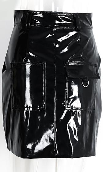 Make It Matter Black Shiny Faux Leather High Waist Zip Front Mini Skirt - Inspired by Chiara Ferragni