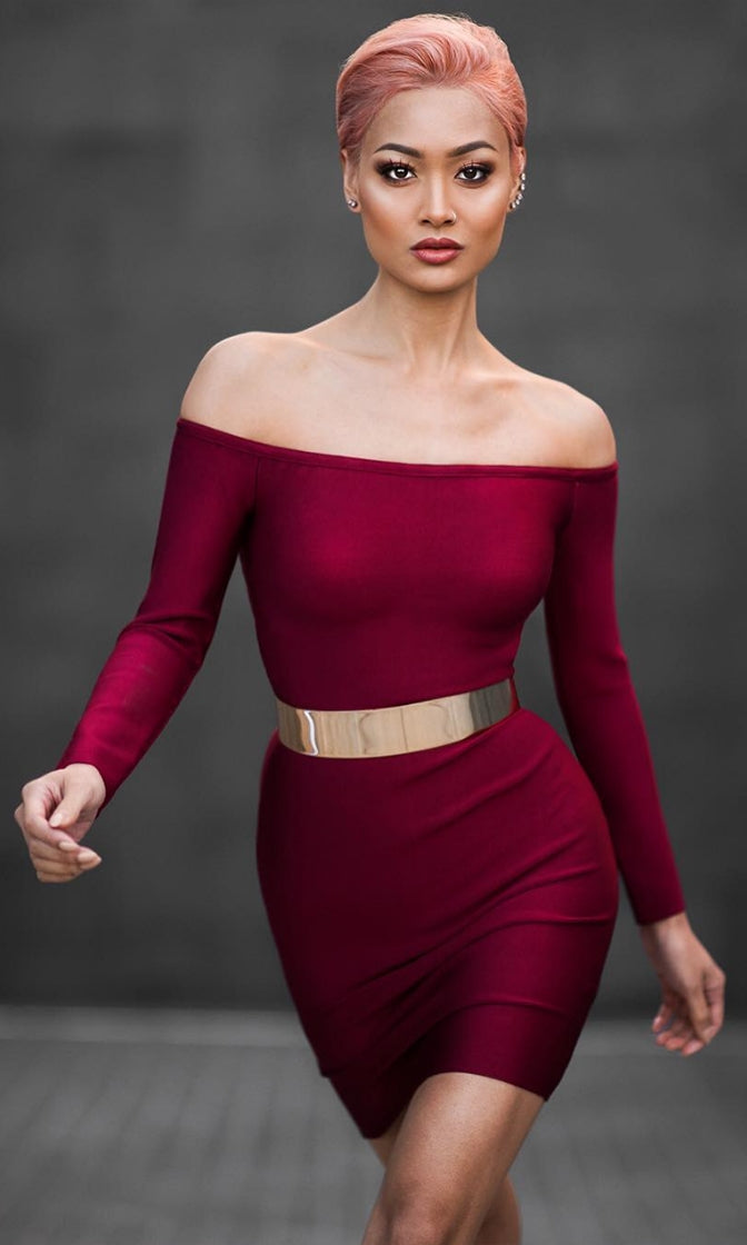 Keep Dreaming Burgundy Wine Long Sleeve Off The Shoulder Bodycon Bandage Mini Dress - Sold Out