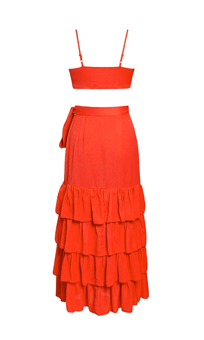 Final Curtain Red Strapless Bandeau Bow Crop Top Ruffle Wrap Casual Maxi Skirt Two Piece Dress - Sold Out