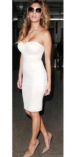 Defining Moment Off White Faux Suede Strapless Bustier Bodycon Midi Dress - Inspired by Nicole Scherzinger