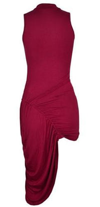 Dance The Night Away Red Sleeveless Cowl Neck Ruched Cinch Side Asymmetric Bodycon Mini Midi Dress - Sold Out