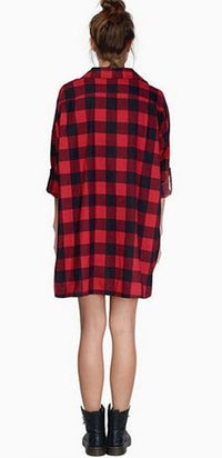 Lumberchic Red Black Buffalo Plaid Long Sleeve Button Front High Low Shirt - Sold out