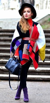 Red Black Beige White Yellow Blue Purple Long Sleeve Open Front Color Block Cape Coat  -  Sold Out
