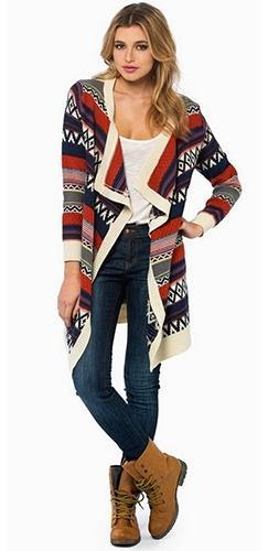 Ivory Black Red Aztec Tribal Knit Thigh Length Cozy Cardigan Long Sleeve Sweater - Sold Out