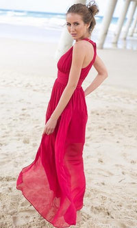 Secret Lover Red Sleeveless Plunge V Neck Twist Back Halter Chiffon Maxi Dress - Sold Out
