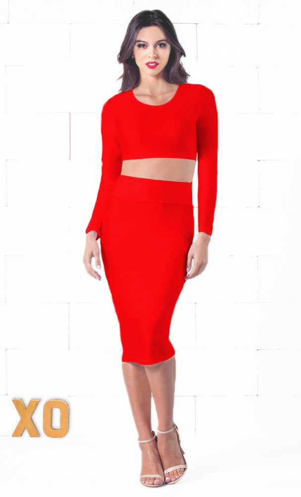 Indie XO Lasting Impression Red Long Sleeve Scoop Crop Top High Waisted Pencil Midi Skirt Set - Just Ours! - Sold Out