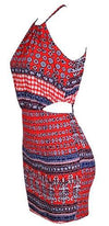 Red White Navy Blue Floral Geometric Sleeveless Halter Scoop Neck Cut Out Mini Dress - Sold Out