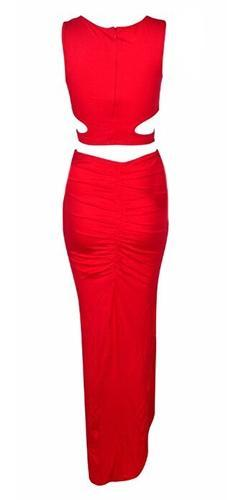 It Takes Two Red Sleeveless Scoop Neck Cut Out Crop Halter Tank Slit Ruched Midi Skirt Two Piece Dress - Sold Out