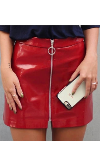 d4701b7512fa Slick City Red Patent Faux Leather Zip Front Mini Skirt - Sold Out ...