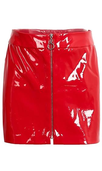Slick City Red Patent Faux Leather Zip Front Mini Skirt