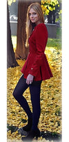 Red Gold Long Sleeve Scoop Neck Double Breasted Button Pleated Flare Peplum Waist Coat - Sold Out