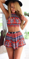 Red White Blue Floral Geometric Sleeveless Scoop Neck X Back Crop Halter Tank Shorts Two Piece Romper - Sold Out