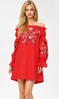 Here To Win Red Floral Embroidery Long Sleeve Off The Shoulder Mini Dress (Pre-Order) - Sold Out