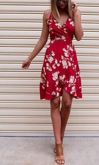 Fresh As A Daisy Red White Blue Purple Yellow Floral Sleeveless Cross Wrap V Neck Crisscross Halter Mini Dress - Almost Gone! - Sold Out