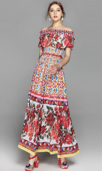 7d9d6bf91be0 Picture Perfect Red White Floral Short Sleeve Ruffle Off The Shoulder Two  Piece Maxi Casual Dress