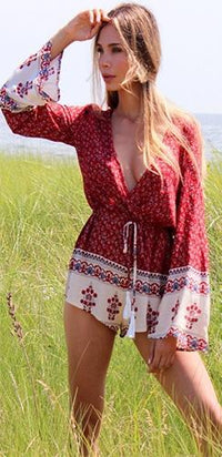 Ready For Action Red White Blue Floral Long Sleeve Cross Wrap V Neck Tassel Tie Waist Short Romper - Sold Out