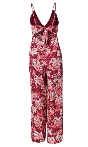Tropical Vacation Red Pink Floral Sleeveless Spaghetti Strap V Neck Cut Out Tie Back Jumpsuit Pattern - Sold Out
