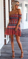 Red White Blue Geometric Short Sleeve Off The Shoulder Skater Circle A Line Flare Mini Dress - Sold Out