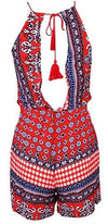 Desert Fest Red White Blue Floral Geometric Sleeveless Scoop Neck Halter Tassel Tie Open Back Short Romper - Sold Out