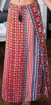 Road Trip Red White Blue Geometric Boho Tassel Side Slit A Line Maxi Skirt - Sold Out