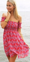 Red Purple Blue Pink Beige Geometric Short Sleeve Off The Shoulder Mini Dress - Sold Out