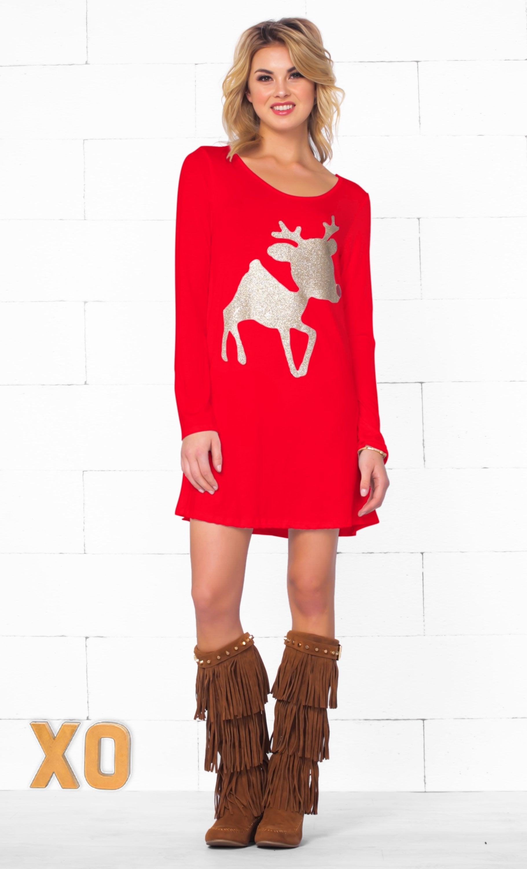 Christmas Cutie Gold Glitter Red Nose Reindeer Long Sleeve Scoop Neck Tunic Top Mini Dress - Sold Out