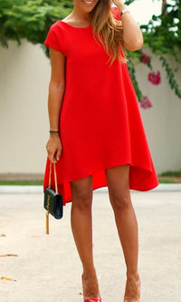 Lead the Way Red Short Sleeve Scoop Neck V Back High Low Loose Swing Mini Dress - Sold Out