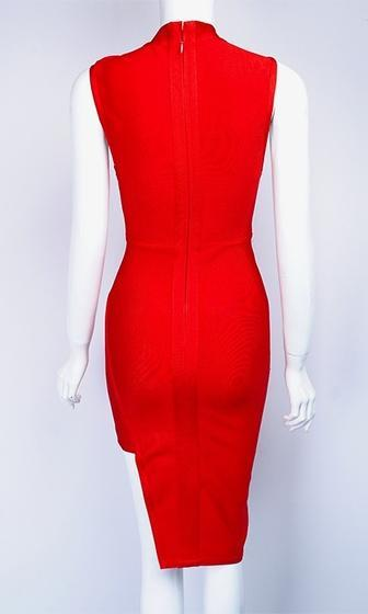 Brave Love Red Sleeveless Cut Out Keyhole Mock Neck Bandage Midi Dress - Sold Out